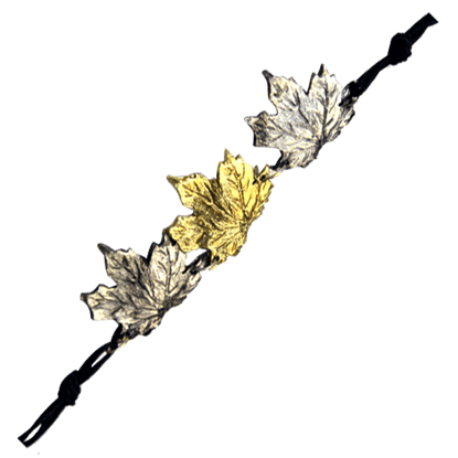 Alternating Brass and Silver Maple Leaf Bracelet