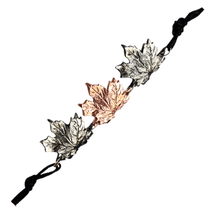 Alternating Silver and Copper Maple Leaf Bracelet
