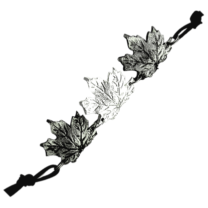 Alternating Antiqued Silver Maple Leaf Bracelet