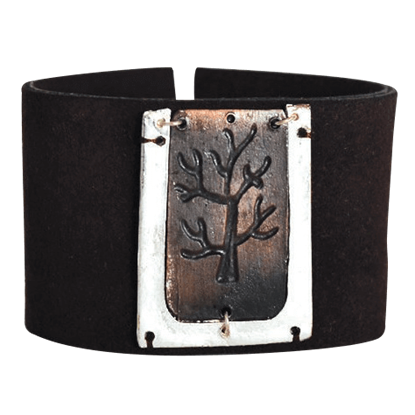 Engraved Tree Leather Bracelet