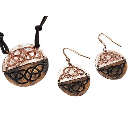 Antiqued Copper Round Celtic Knot Necklace and Earring Set