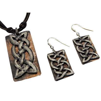 Antiqued Silver and Copper Celtic Knot Necklace and Earring Set