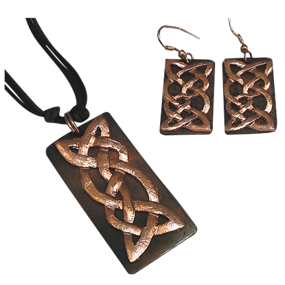 Antiqued Copper Celtic Knot Necklace and Earring Set
