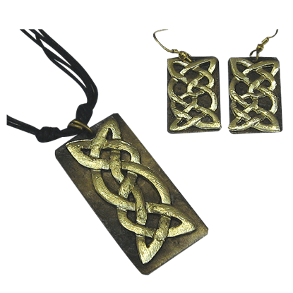 Antiqued Brass Celtic Knot Necklace and Earring Set