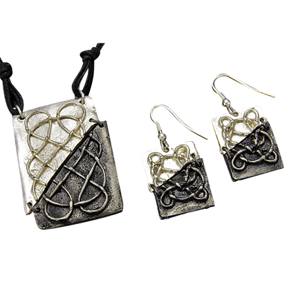Divided Antique Silver Celtic Knot Necklace and Earring Set
