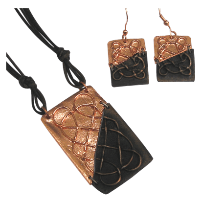 Divided Antique Copper Celtic Knot Necklace and Earring Set