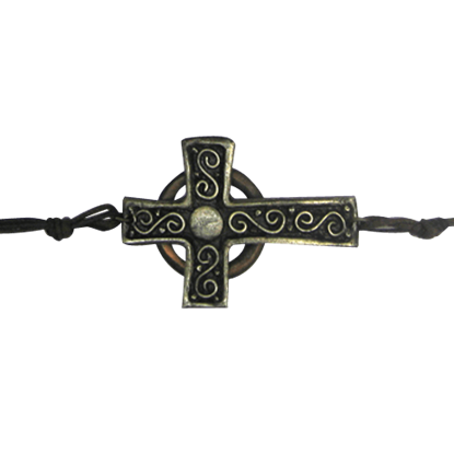 Antique Silver and Copper Cross Bracelet
