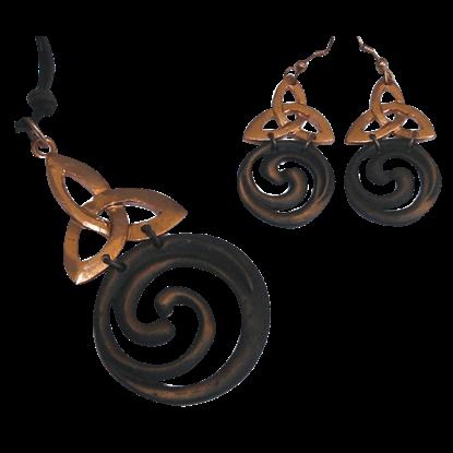 Copper Triquetra Spiral Jewelry Set