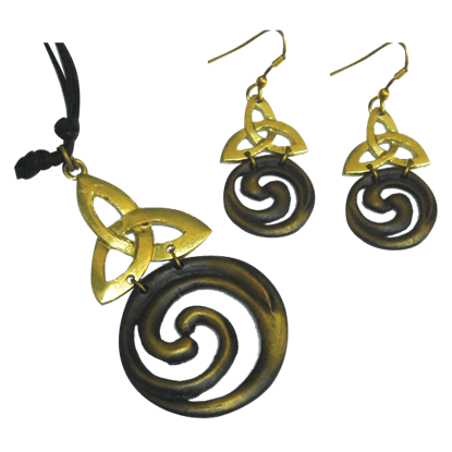 Brass Triquetra Spiral and Jewelry Set