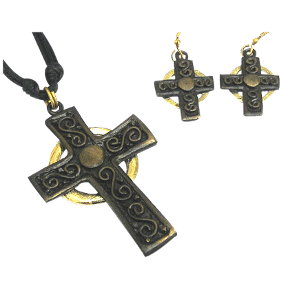 Brass Celtic Cross Jewelry Set