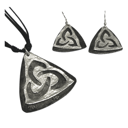 Silver Triquetra Jewelry Set