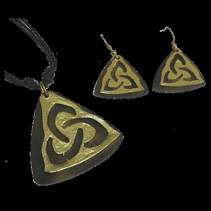 Brass Triquetra Jewelry Set