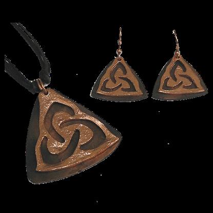 Copper Triquetra Jewelry Set