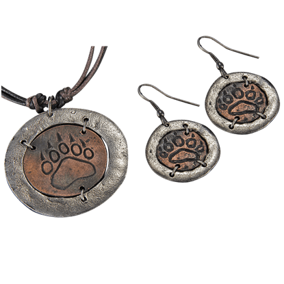 Antiqued Bear Claw Jewelry Set