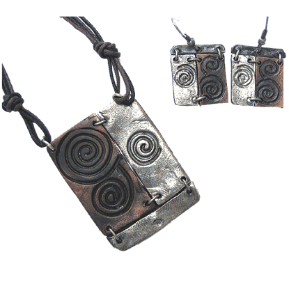 Silver and Copper Spiral Jewelry Set