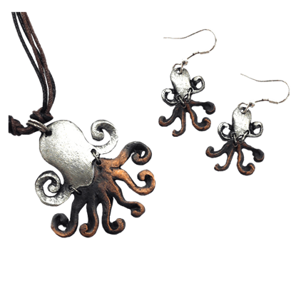 Silver and Copper Octopus Jewelry Set