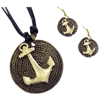 Brass Anchor Jewelry Set