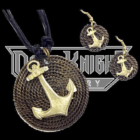 Brass Anchor Jewelry Set