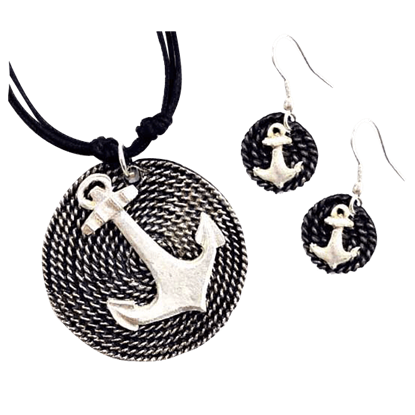 Silver Anchor Jewelry Set