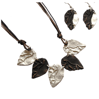 Two Tone Leaves Jewelry Set