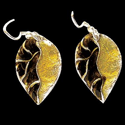 Golden Pewter Leaf Earrings