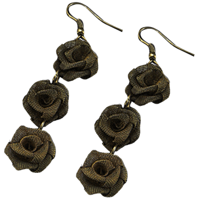Darkened Gold Rose Earrings