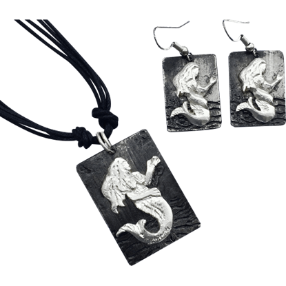 Silver Mermaid Necklace and Earrings Set