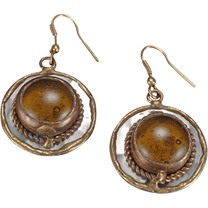 Brass and Copper Amber Earrings