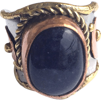 Brass and Copper Midnight Agate Cuff Ring