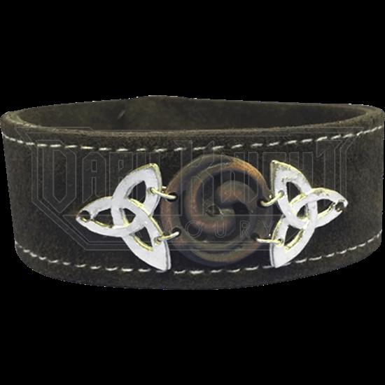 Copper Triquetra Spiral Leather Bracelet