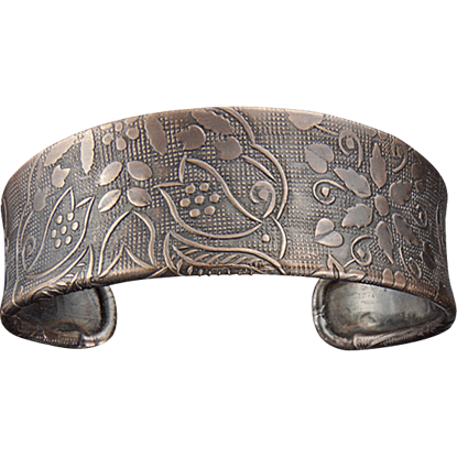 Antique Copper Etched Floral Cuff Bracelet