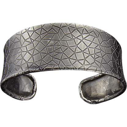 Antique Silver Crackle Cuff Bracelet