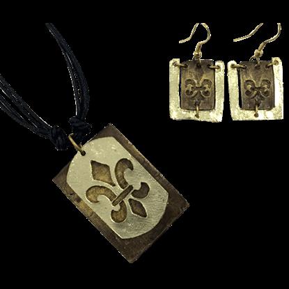 Brass Fleur de Lis Jewelry Set