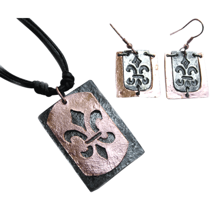Copper with Silver Fleur de Lis Jewelry Set