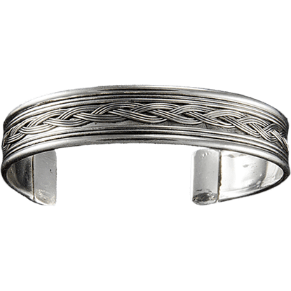 Antique Silver Braid Cuff Bracelet