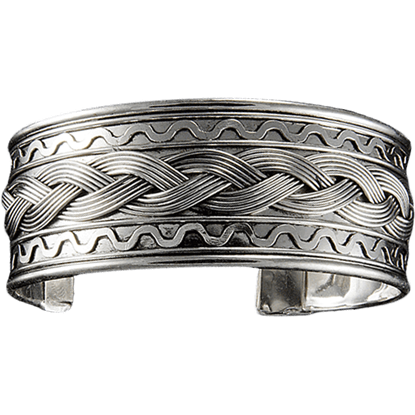 Antique Silver Braid Wide Cuff Bracelet