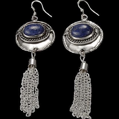 Lapis Silver Tassel Earrings