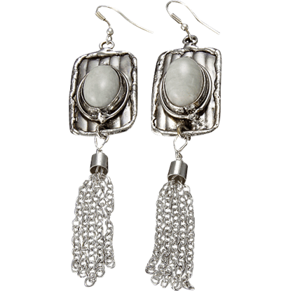Amazonite Silver Tassel Earrings
