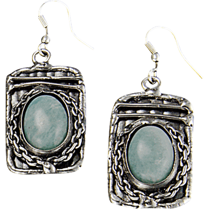 Amazonite Silver Rectangle Earrings