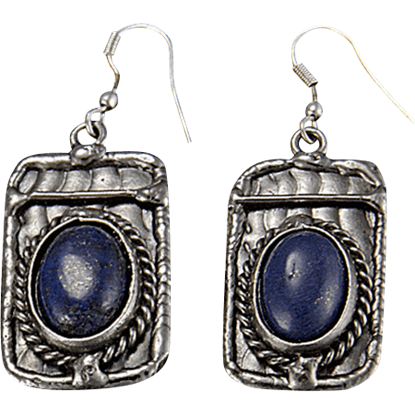 Lapis Silver Rectangle Earrings