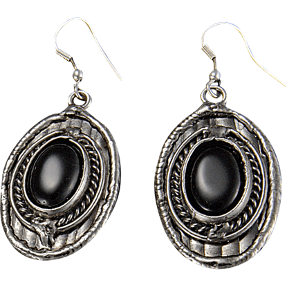 Black Onyx Silver Oval Earrings