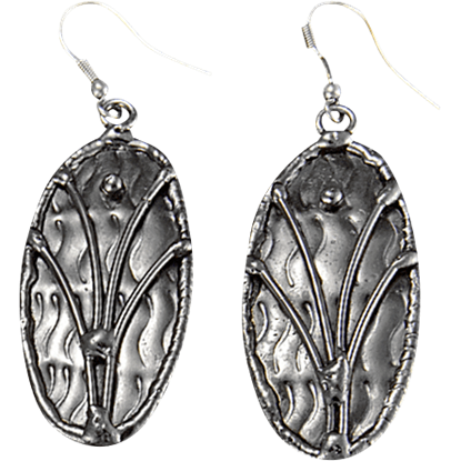 Antique Silver Plated Oval Earrings