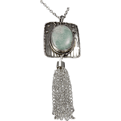 Amazonite Silver Tassel Necklace