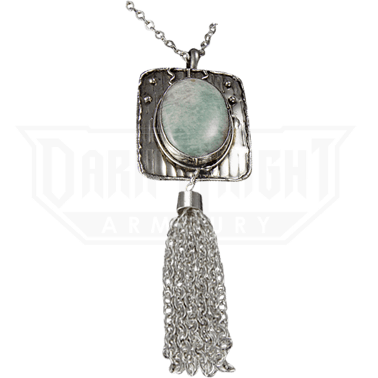 Amazonite Silver Tassel Necklace