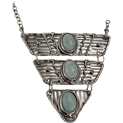 Amazonite Silver Triangle Tier Necklace