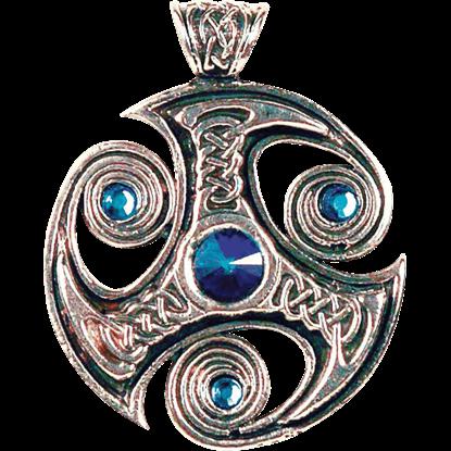 Blue Jeweled Triskelion Necklace