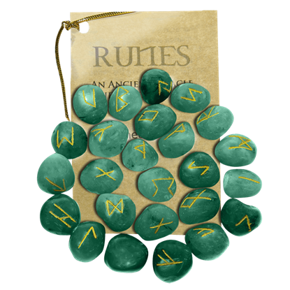 Green Aventurine Set of Rune Stones