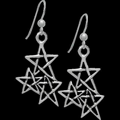 Triple Pentagram Earrings