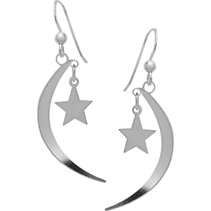 Crescent Moon and Star Dangling Earrings
