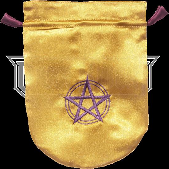 Yellow Satin Pentacle Bag